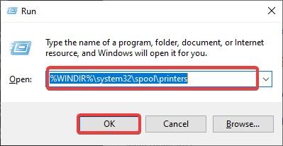 system32 spool printers to fix Printer Configuration Error