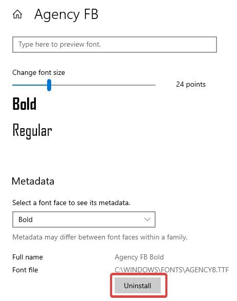 uninstall font