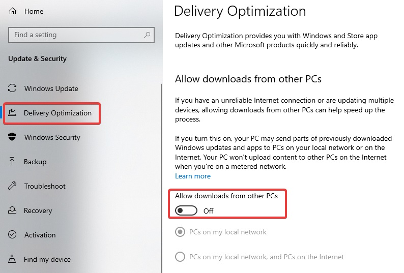 Allow downloads from other PCs