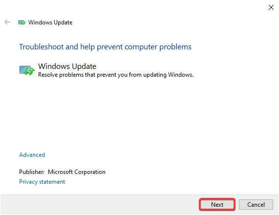 Click on next for windows update troubleshooter
