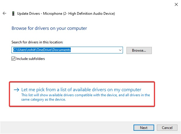 Let Me Pick from A list of available Drivers on My Computer to Fix Bluetooth Audio Stuttering