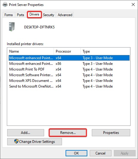 Remove driver for drivers tab to Fix Epson Printer Prints only Half Page