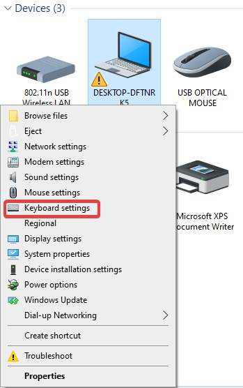 keyborad settings