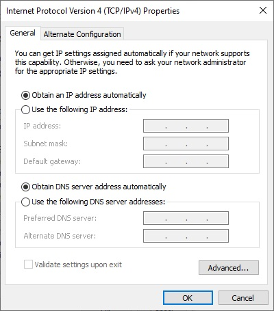 obtain an IP address automatically to fix DNS Issues on Windows 10