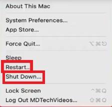 restart shut down mac to Fix HP printer USB Scanner Connection Error (Mac)