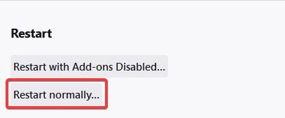 Restart normally to Fix Firefox won't open on Mac