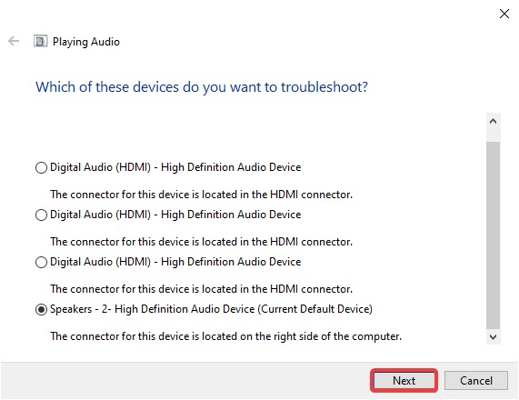 choose troubleshooter and click next To Fix Sound problems in Windows 10:
