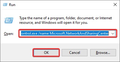 control.exe name Microsoft.NetworkAndSharingCenter to Fix Wi-Fi Not Working on Laptop