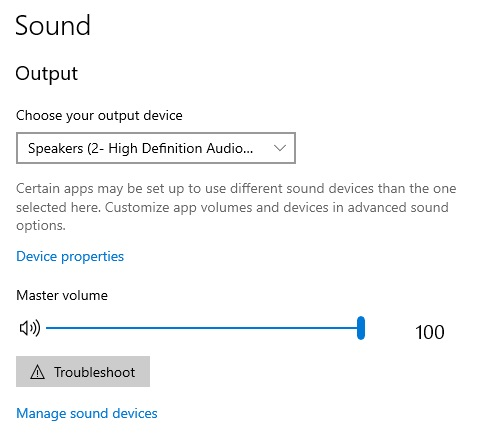 select your suitable device To Fix Sound problems in Windows 10: