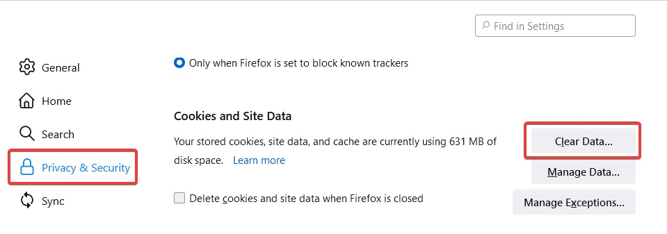 Clear Data to Fix Firefox Displaying the Wrong Bookmark Favicons