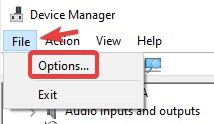 click on file and then options