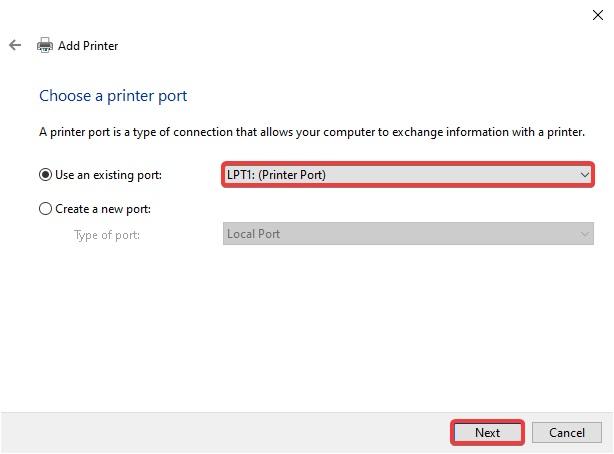 select port and click next to Fix Network Printer Error 0x00000bcb