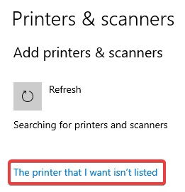 the printer that i want isn't listed